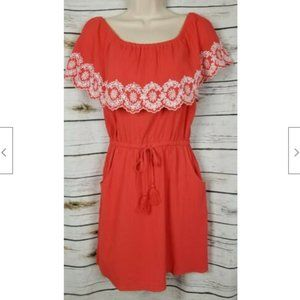 Talbots Red Eyelet Flounce Dress Off Shoulder